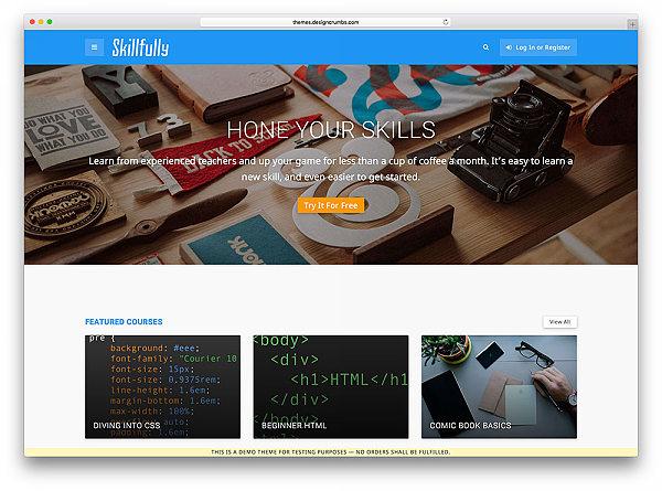 Skillfully szablon LMS kursy online w WordPress